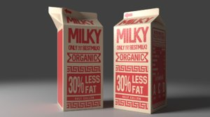 3d model milk carton jar