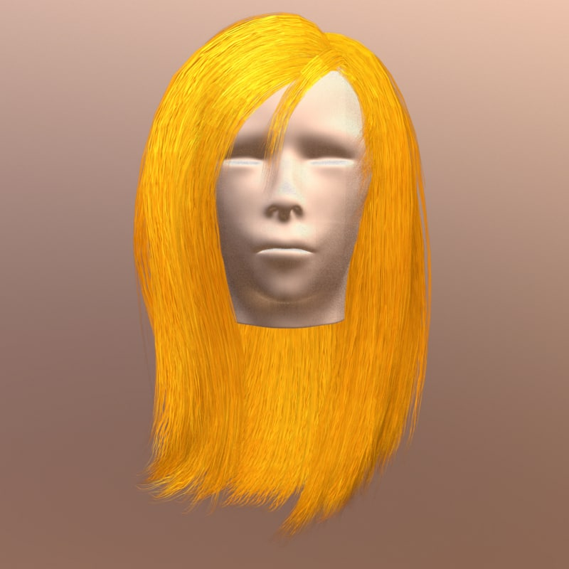 polygonal female hair 3d model