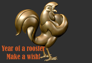 3d statue rooster 2017 model