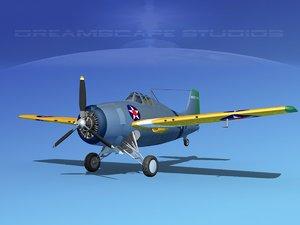 grumman f4f-3 fighter aircraft 3d dwg