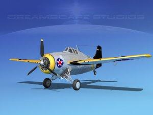 grumman f4f-3 fighter aircraft 3d 3ds