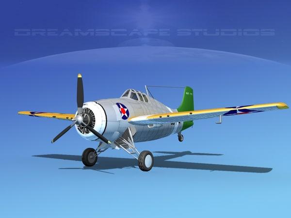 grumman f4f-3 fighter aircraft 3d max
