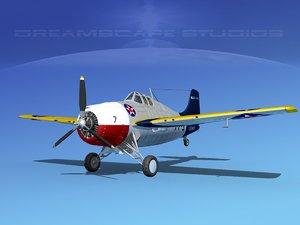 3d model of grumman f4f-3 fighter aircraft
