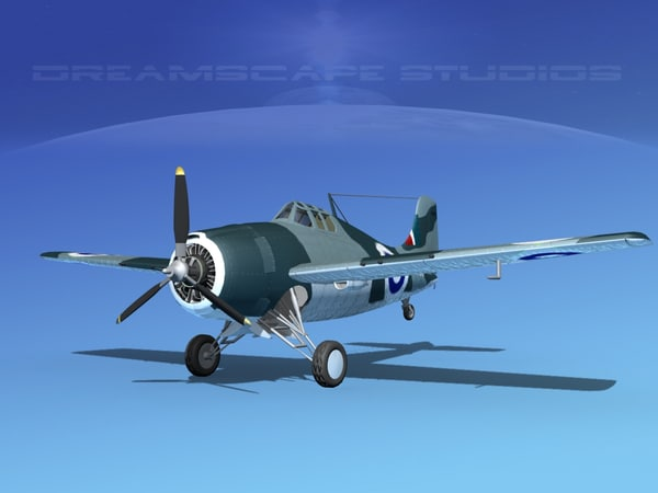 3d grumman f4f-3 fighter aircraft model