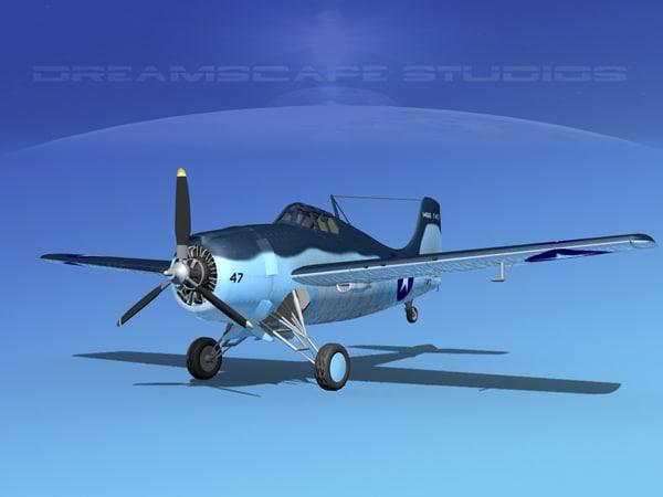 3d grumman f4f-3 fighter aircraft
