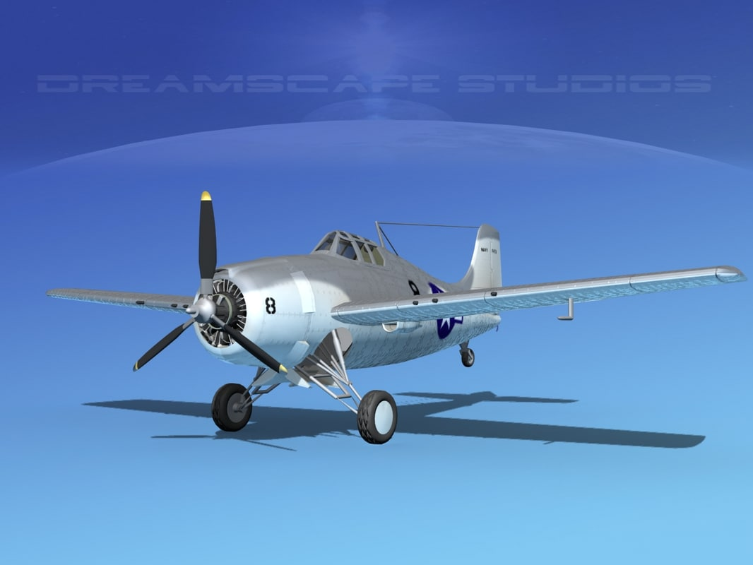 grumman f4f-3 fighter aircraft 3d model