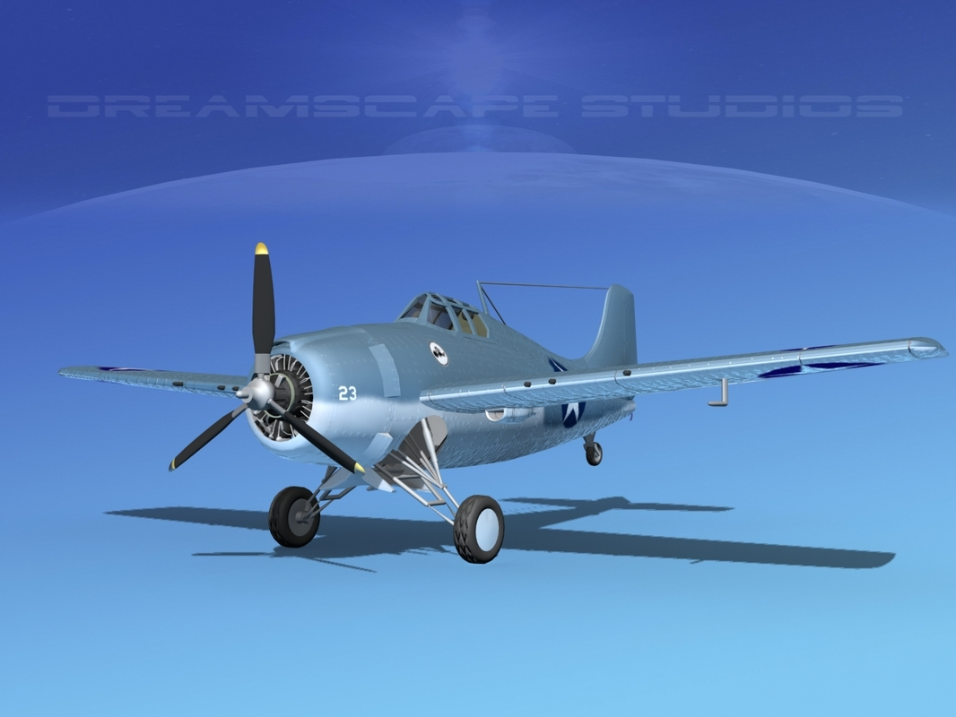 3d grumman f4f-3 fighter aircraft