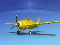 3d model of grumman f4f-3 fighter aircraft