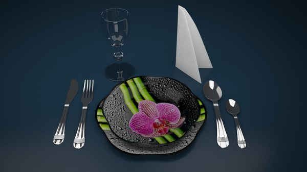 dinner set flower 3ds free