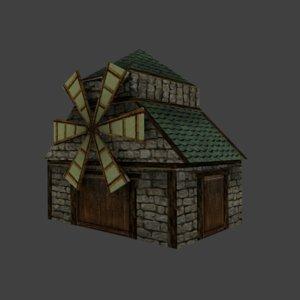 3d medieval windmill