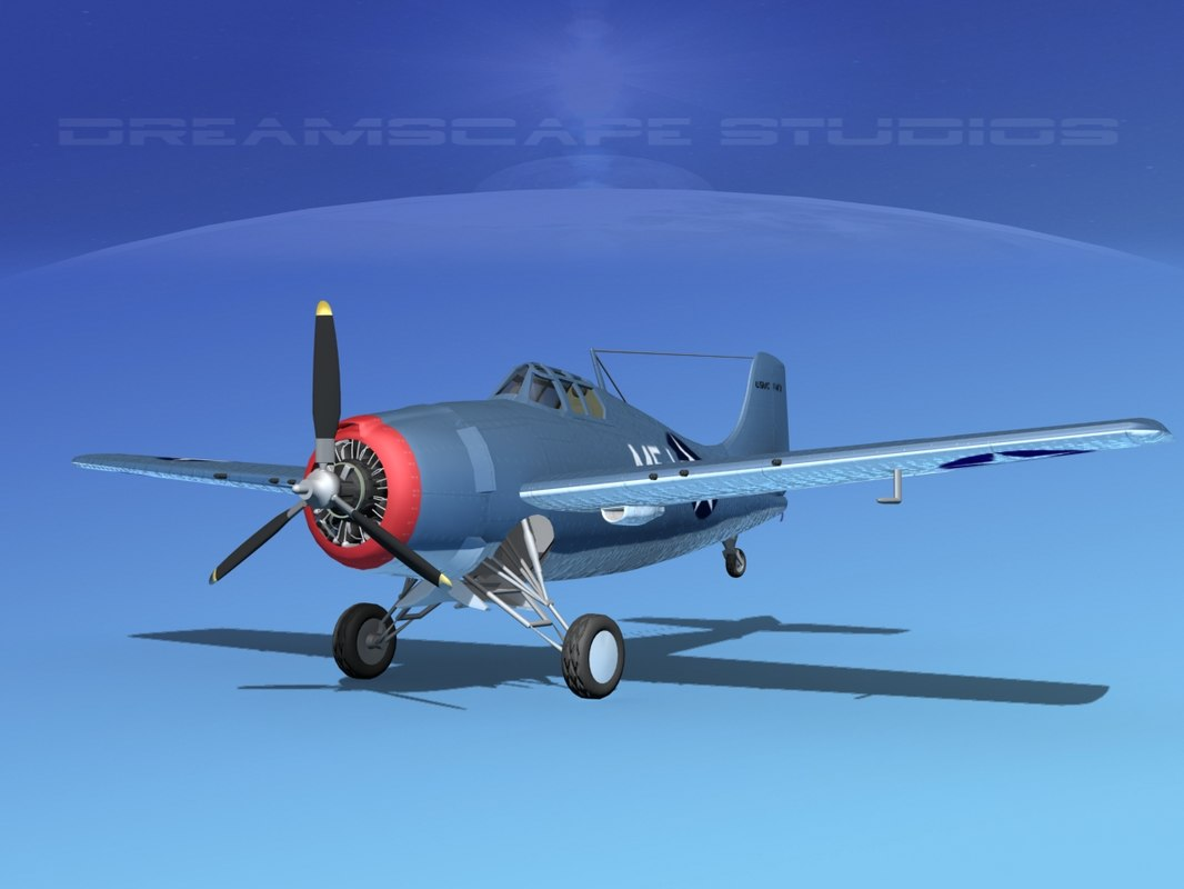 3d model grumman f4f-3 fighter aircraft