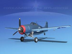 3d model grumman f4f-3 fighter aircraft