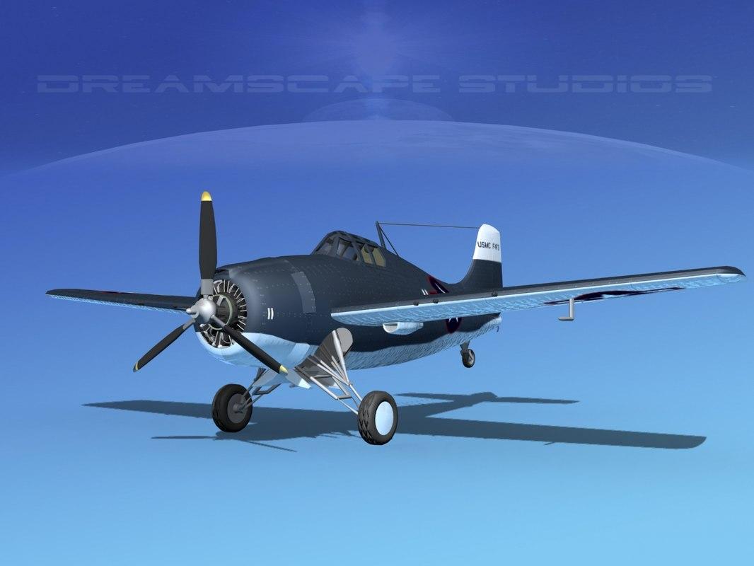 grumman f4f-3 fighter aircraft obj