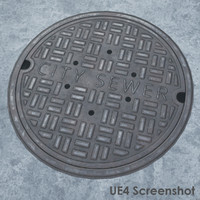 pbr manhole cover 3d model