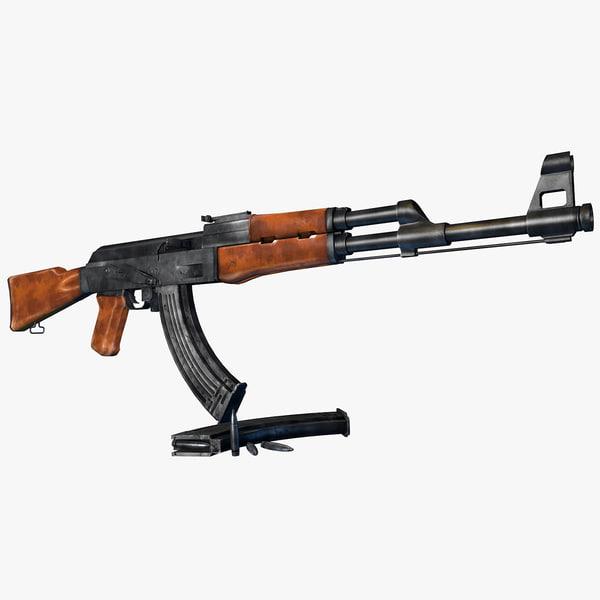 weapon ak-47 assault rifle 3d model