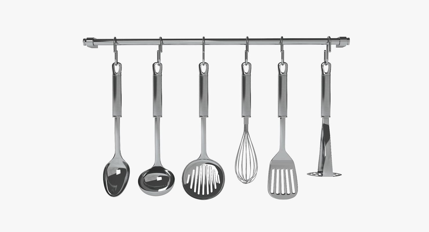 3d stainless steel kitchen utensils model