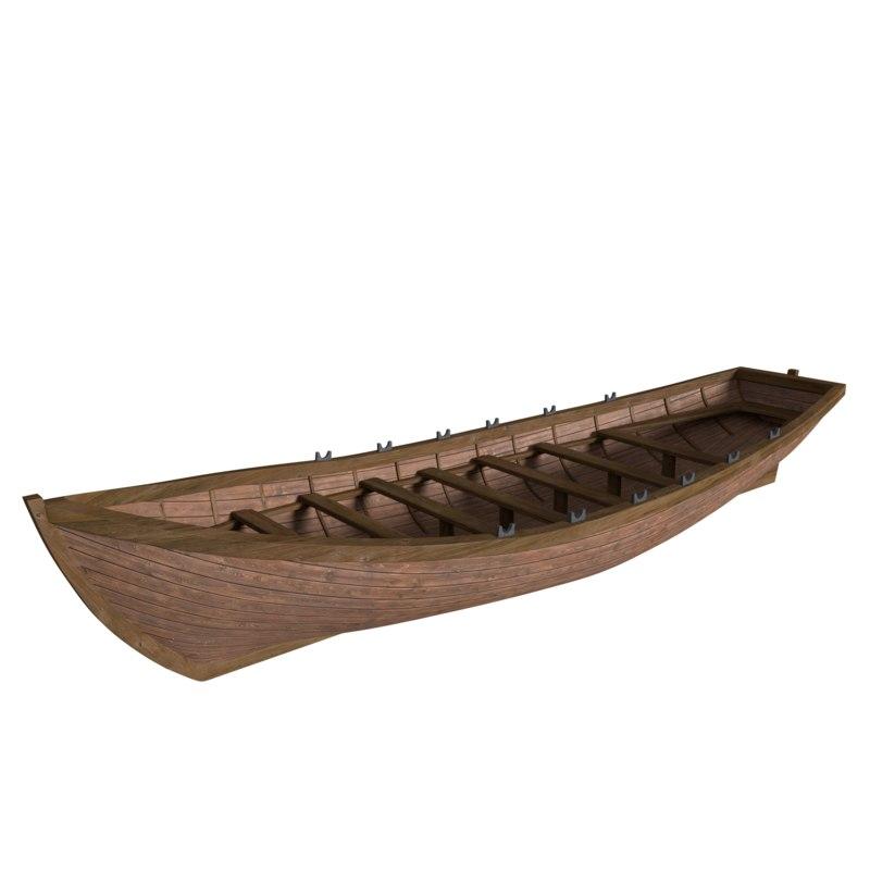 3d row boat ship s model