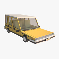 cartoon car yellow 3d model