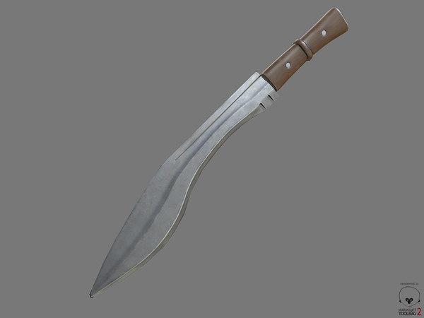 combat knife pbr obj free
