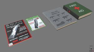 free obj model magazine books pbr