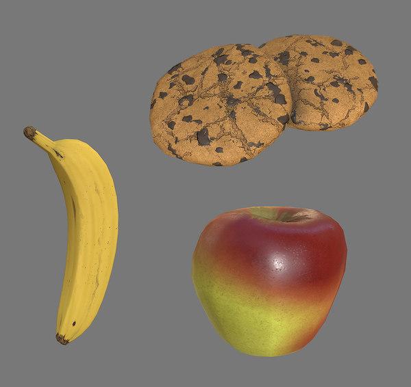 apple banana cookie pbr obj free