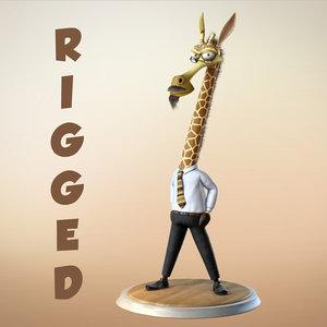 3d giraffe cartoon character rigged model