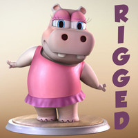 Maya Cartoon Character Hippo