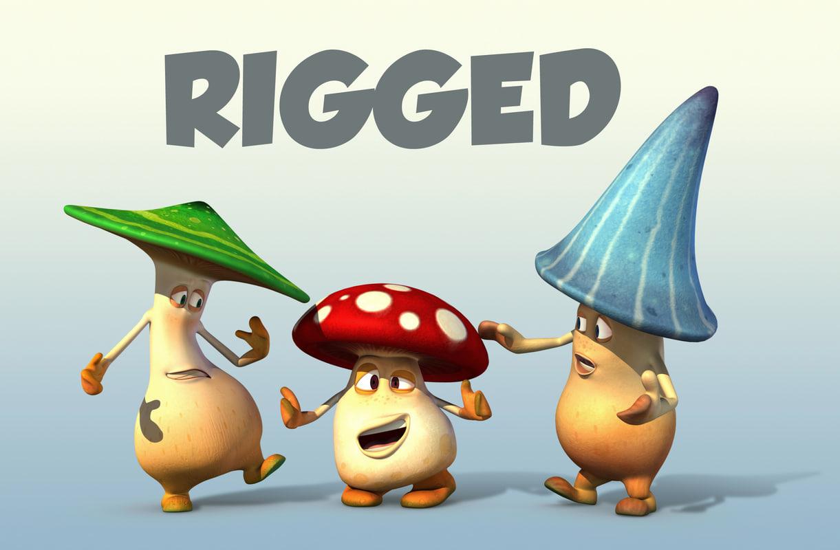 3d ma 3 mushroom cartoon characters
