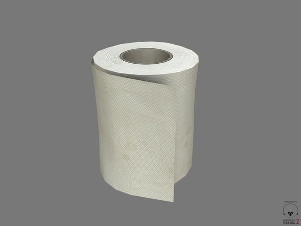 free wc toilet paper pbr 3d model