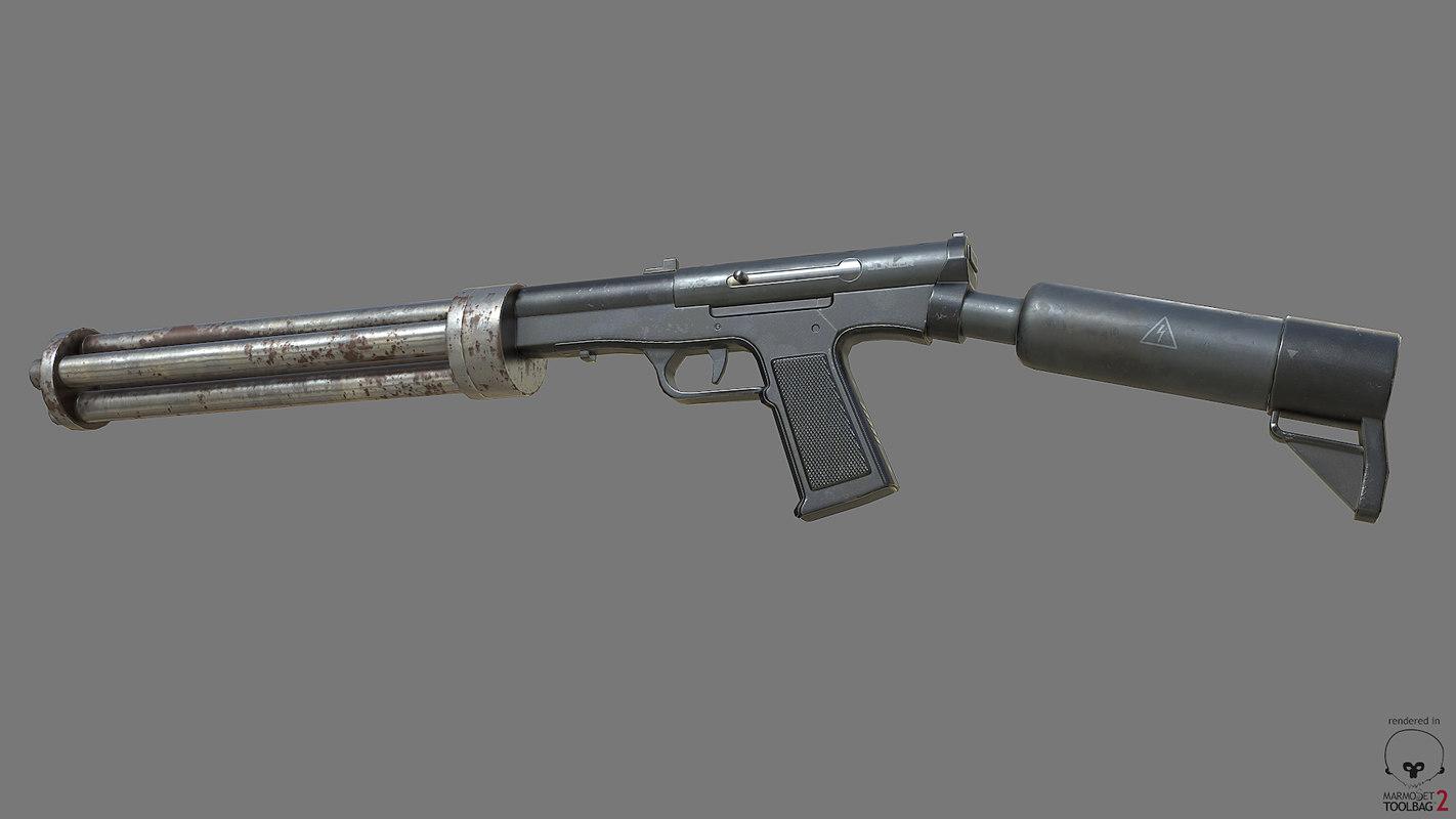 free fbx model smg-60 minigun pbr