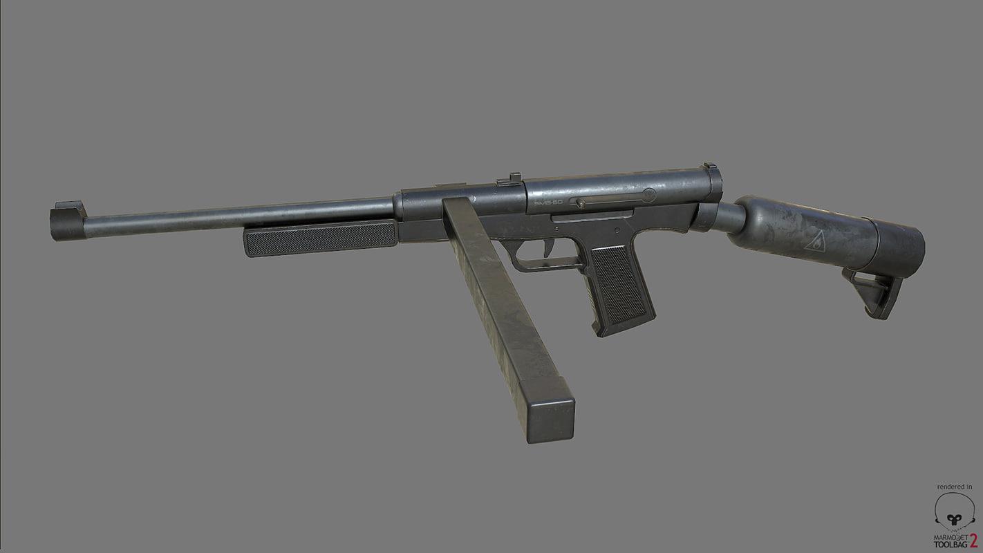free smg-60 softair pbr 3d model