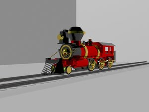 3d model train engineered steam