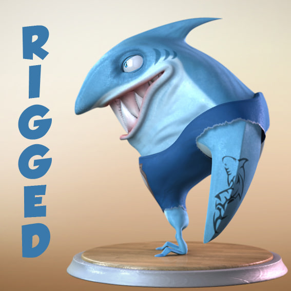 3d cartoon shark character rigged model