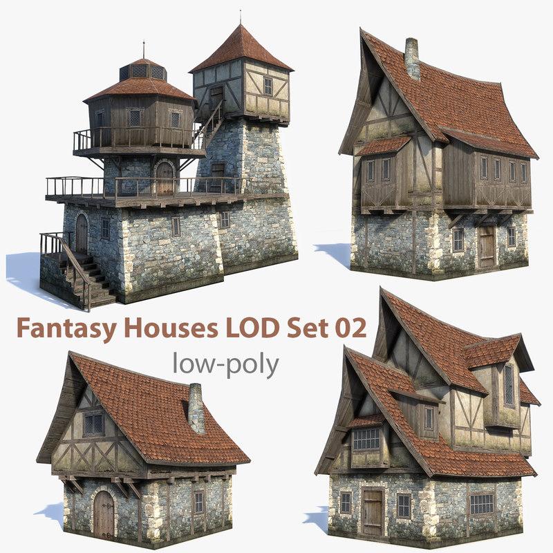 set medieval fantasy house 3d max