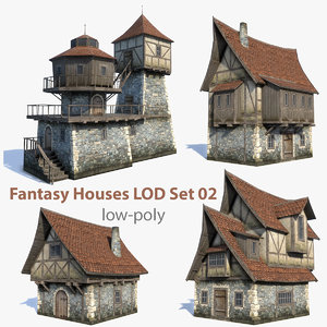 set medieval fantasy house 3d max