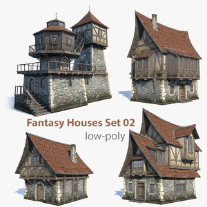 set medieval fantasy house 3d 3ds