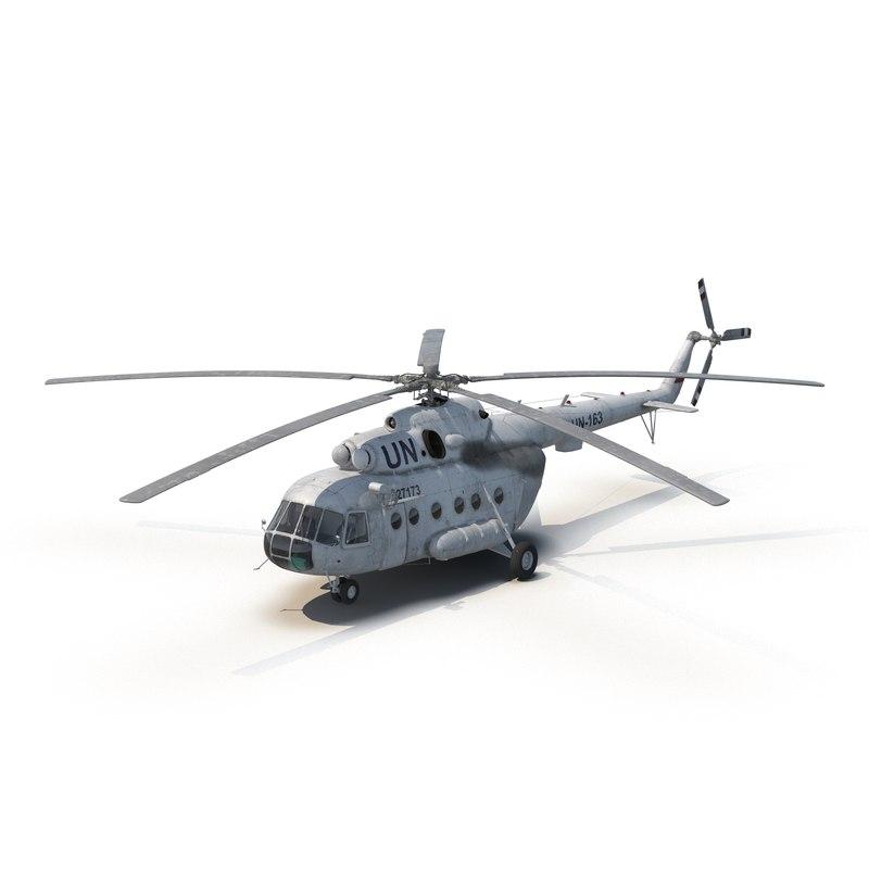 3d mi-8 hip united nations model