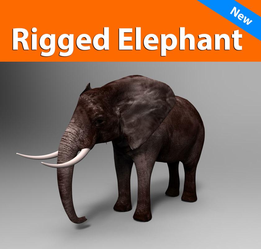 obj elephant rigged