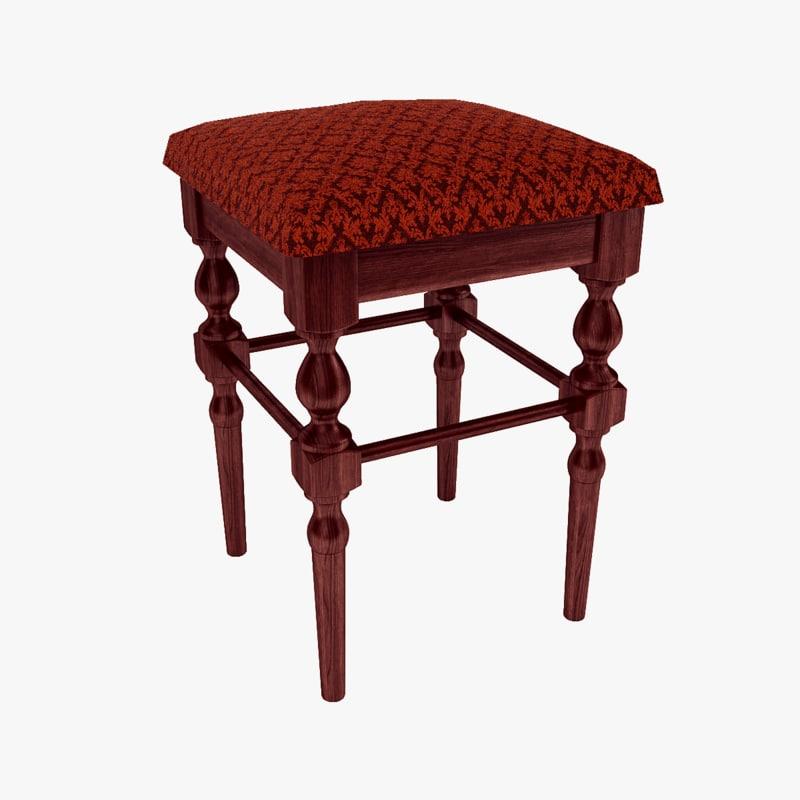 carved stool 3d model