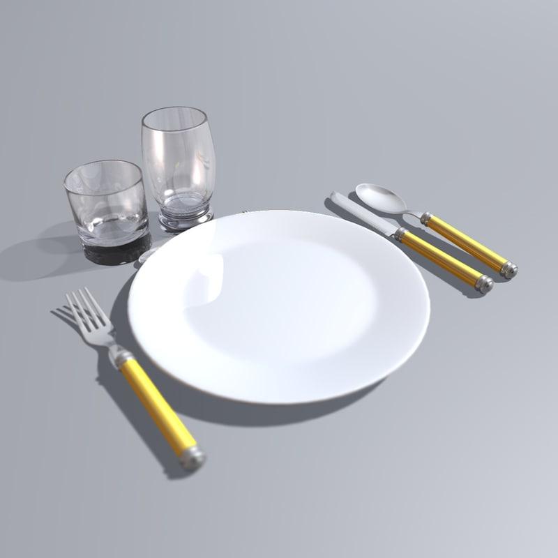c4d spoon plate knife