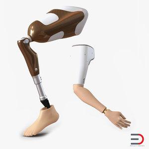 3d model prosthetic leg arm rigged