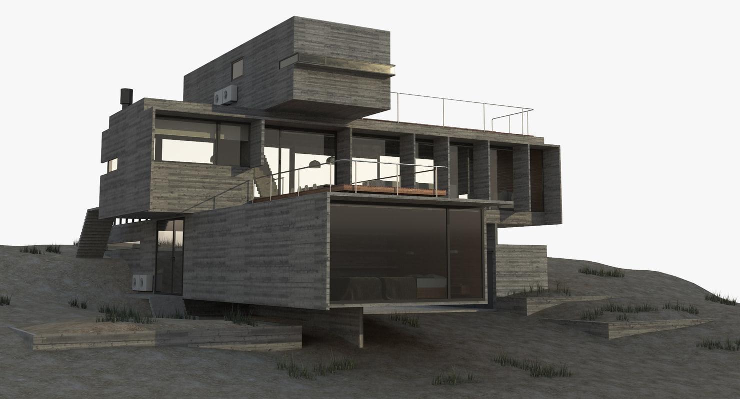 modern house exterior 3d obj