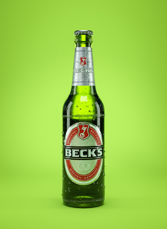 3d becks beer bottle model