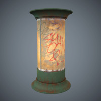 Weathering Advertising column Game Ready Low-Poly PBR