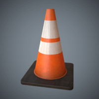 3d traffic cone pbr games model