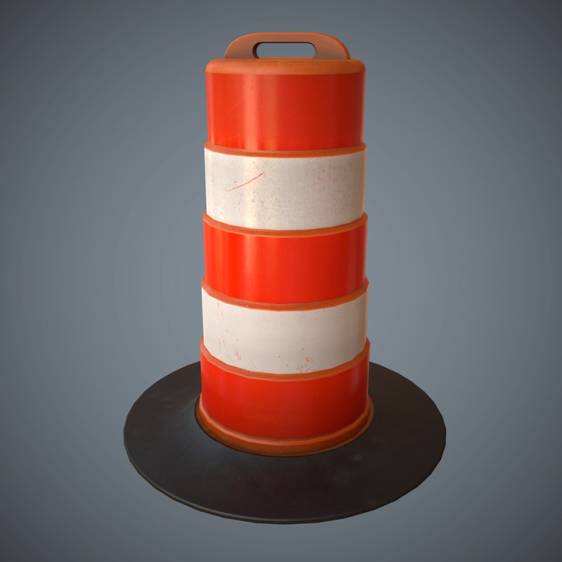 3d large traffic cone pbr model