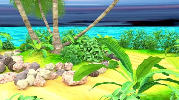 3d island scene