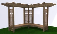 3d pergola wood framed model