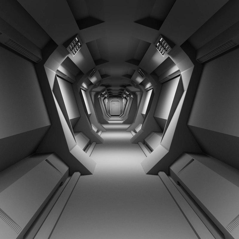3d model scifi interior
