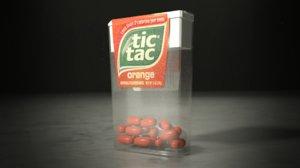 3d model of orange tic tacs